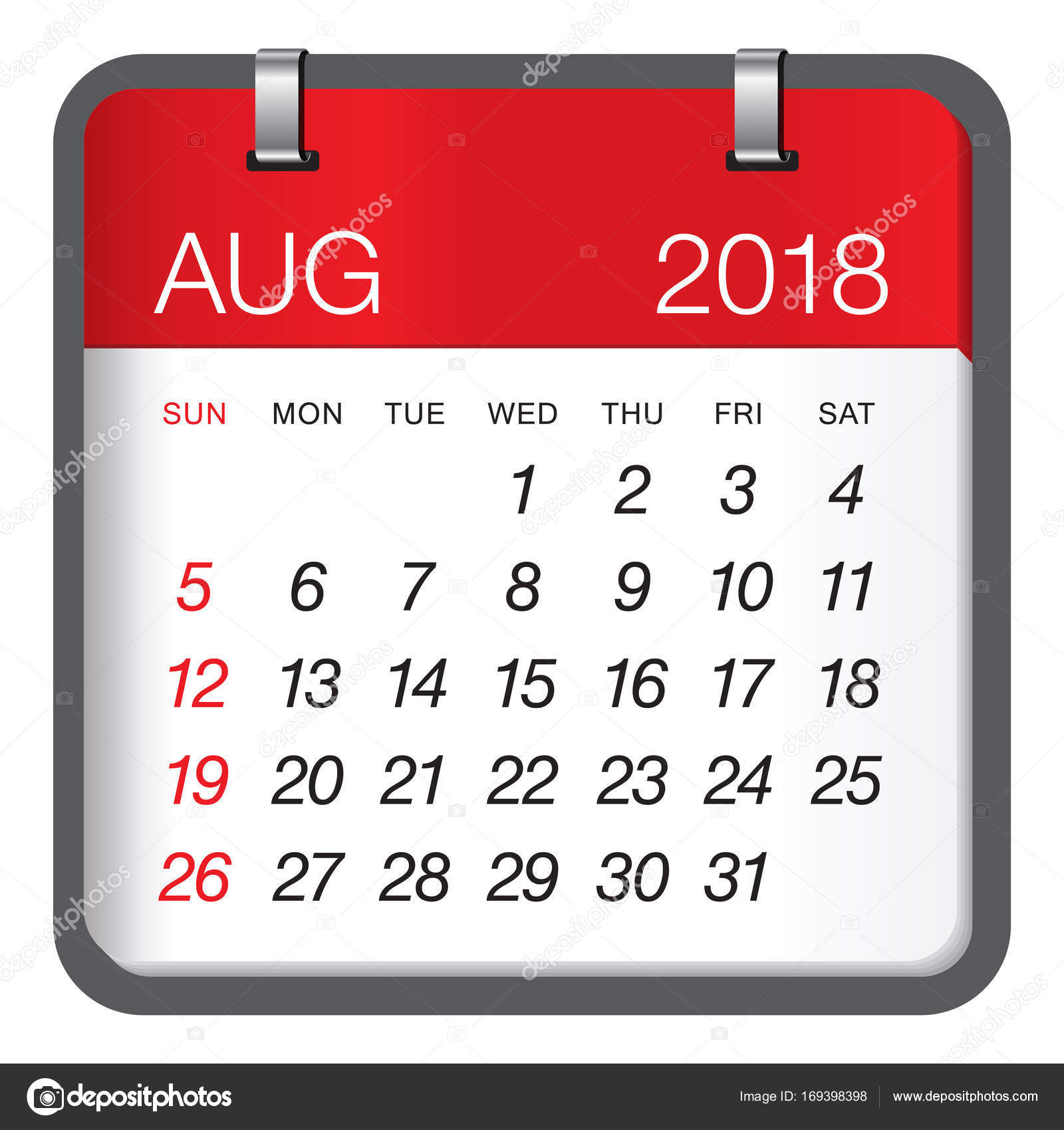 august 2018 calendar vector illustration stock vector