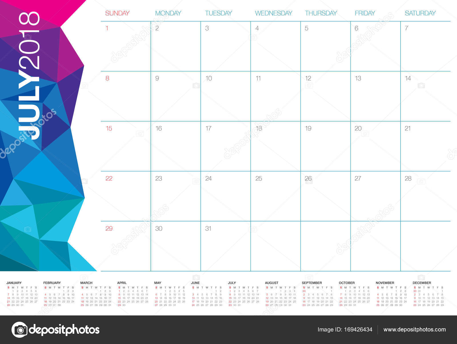 july 2018 calendar planner vector illustration stock photo