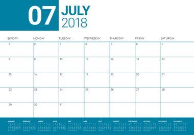 July 2018 calendar planner vector illustration