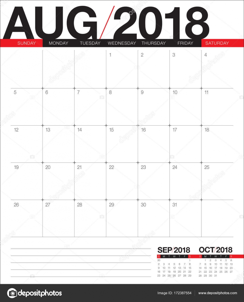 august 2018 planner calendar vector illustration stock vector