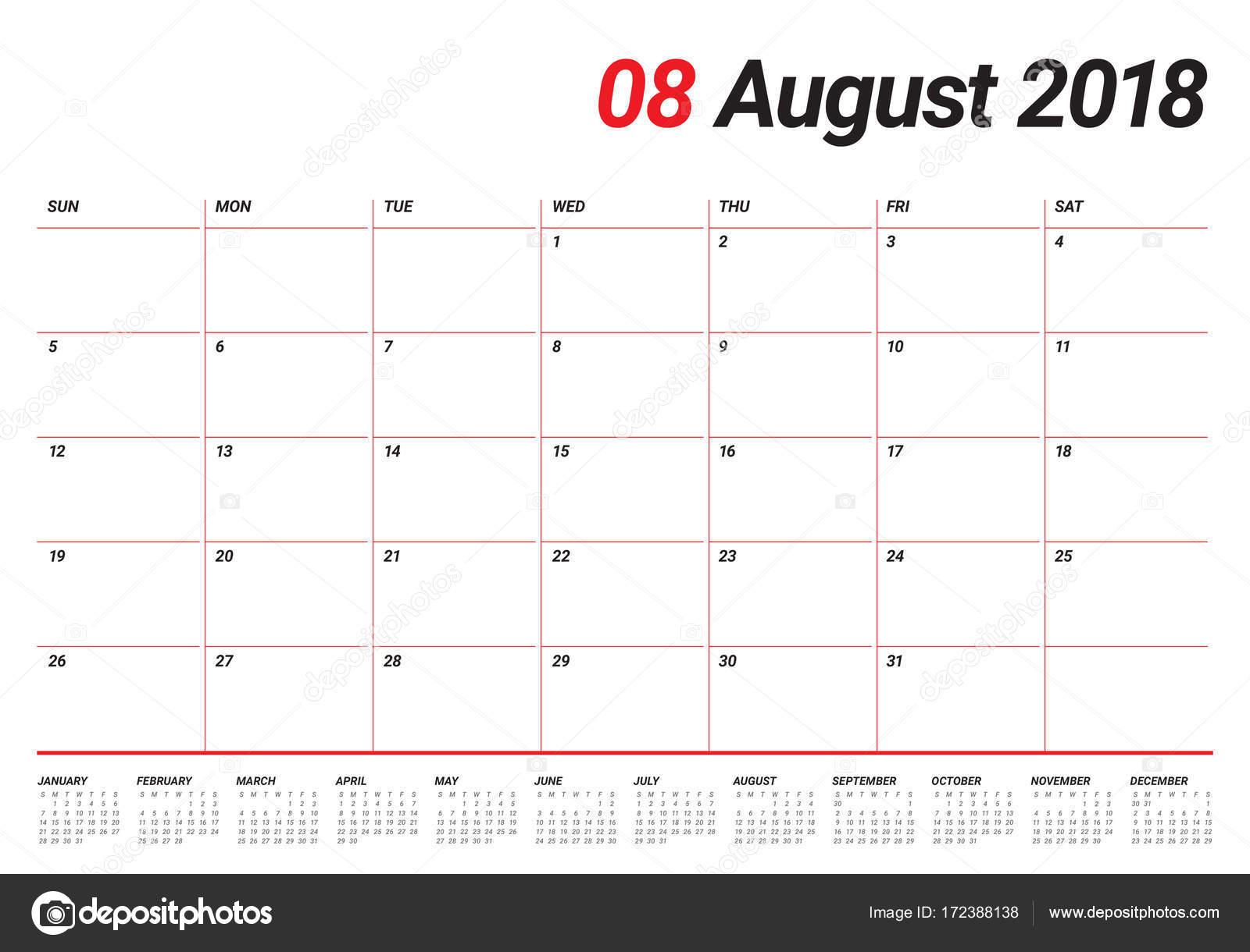 2018年 8 月プランナー カレンダー