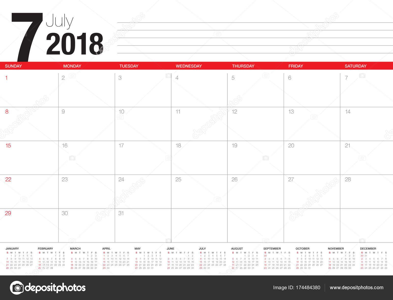 2018年 7 月カレンダー プランナー ベクトル図 — ストックベクタ