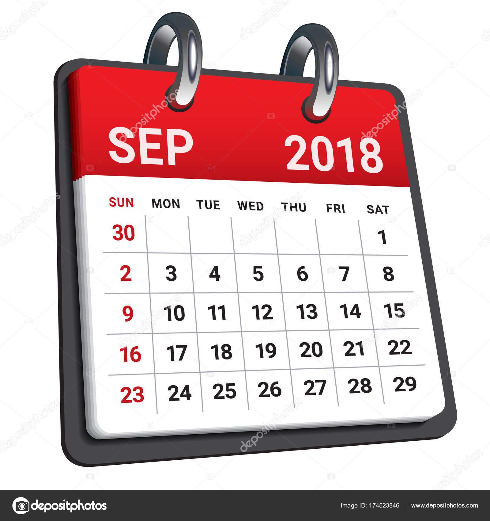 September 2018 calendar vector illustration — Stock Vector