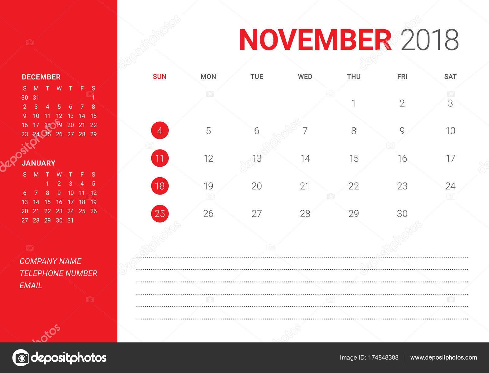 2018 年 11 月デスク カレンダーのベクトル イラスト ストックベクター