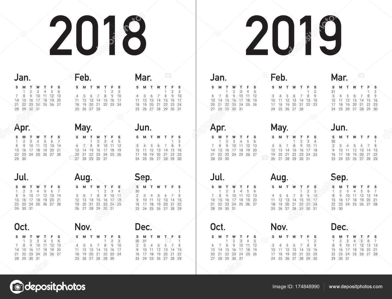 year 2018 2019 calendar vector stock vector