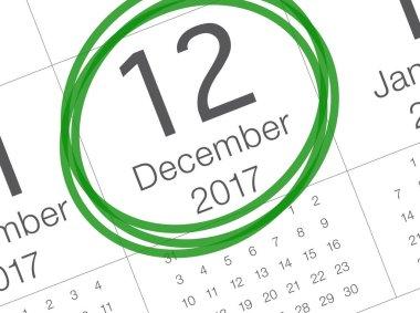 Christmas day calendar on diary