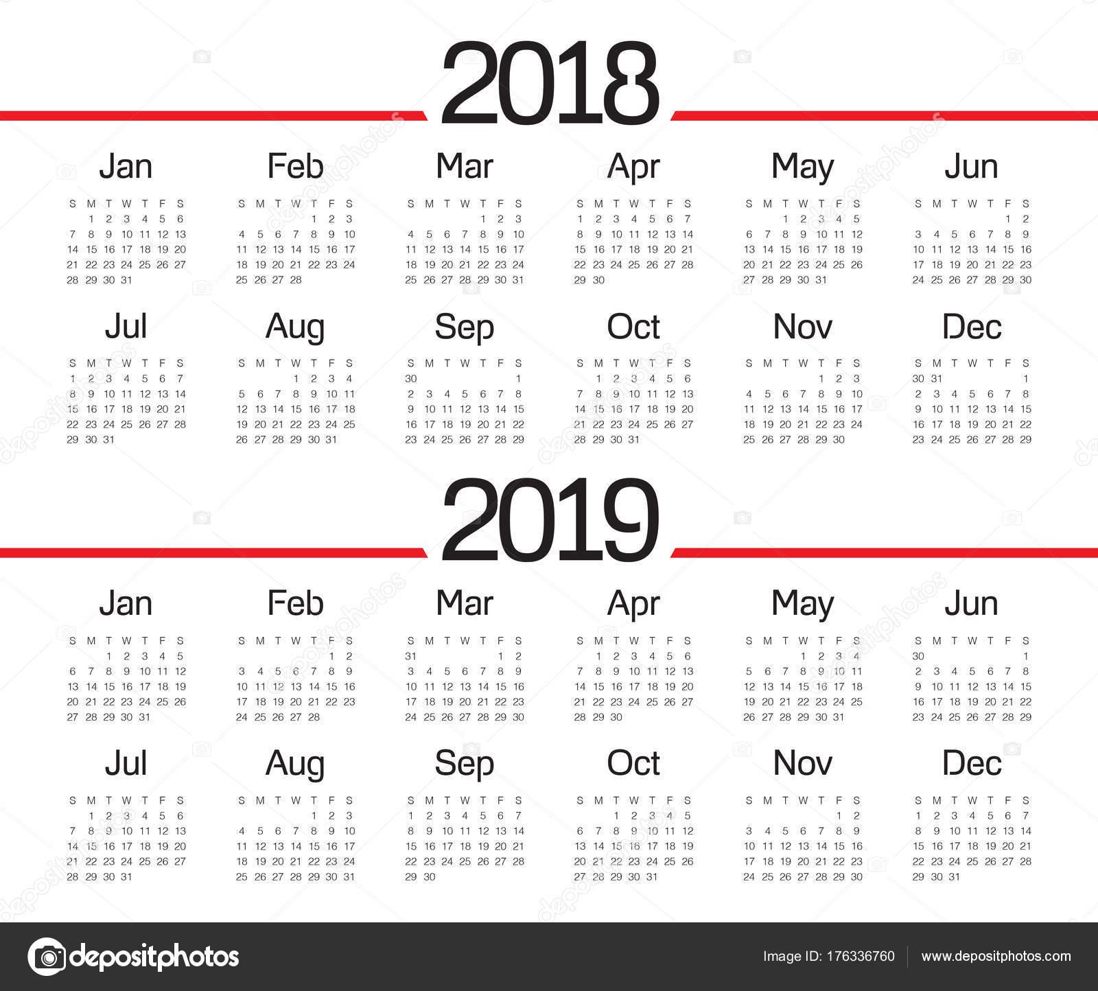 vecteur de calendrier de l ann e 2018 2019 image vectorielle dolphfynlow 176336760. Black Bedroom Furniture Sets. Home Design Ideas