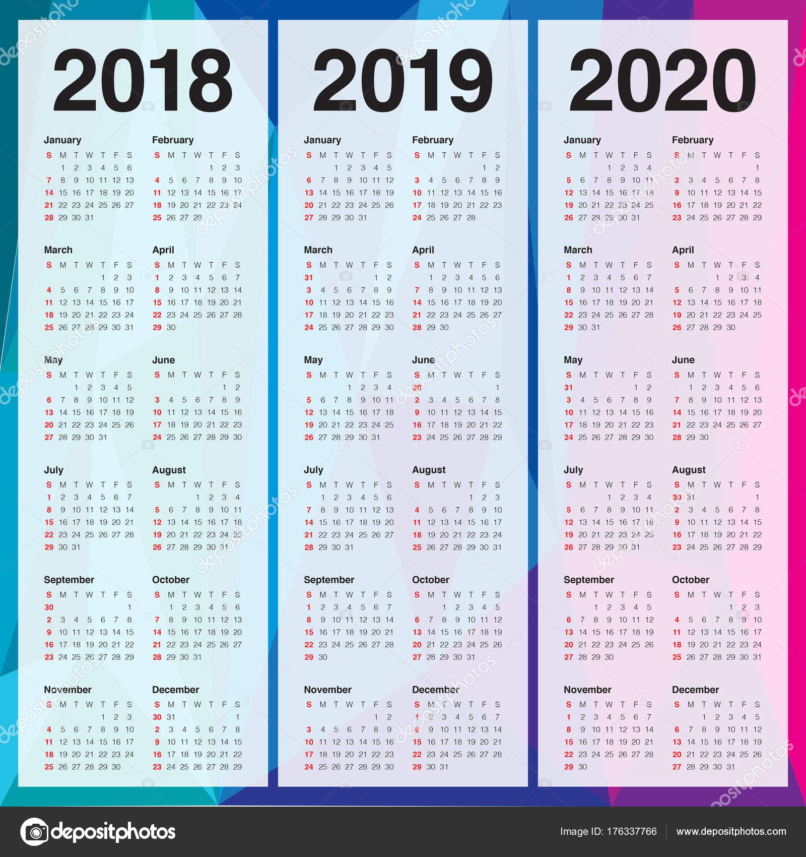 Year 2018 2019 2020 Calendar Vector Stock Vector C Dolphfynlow