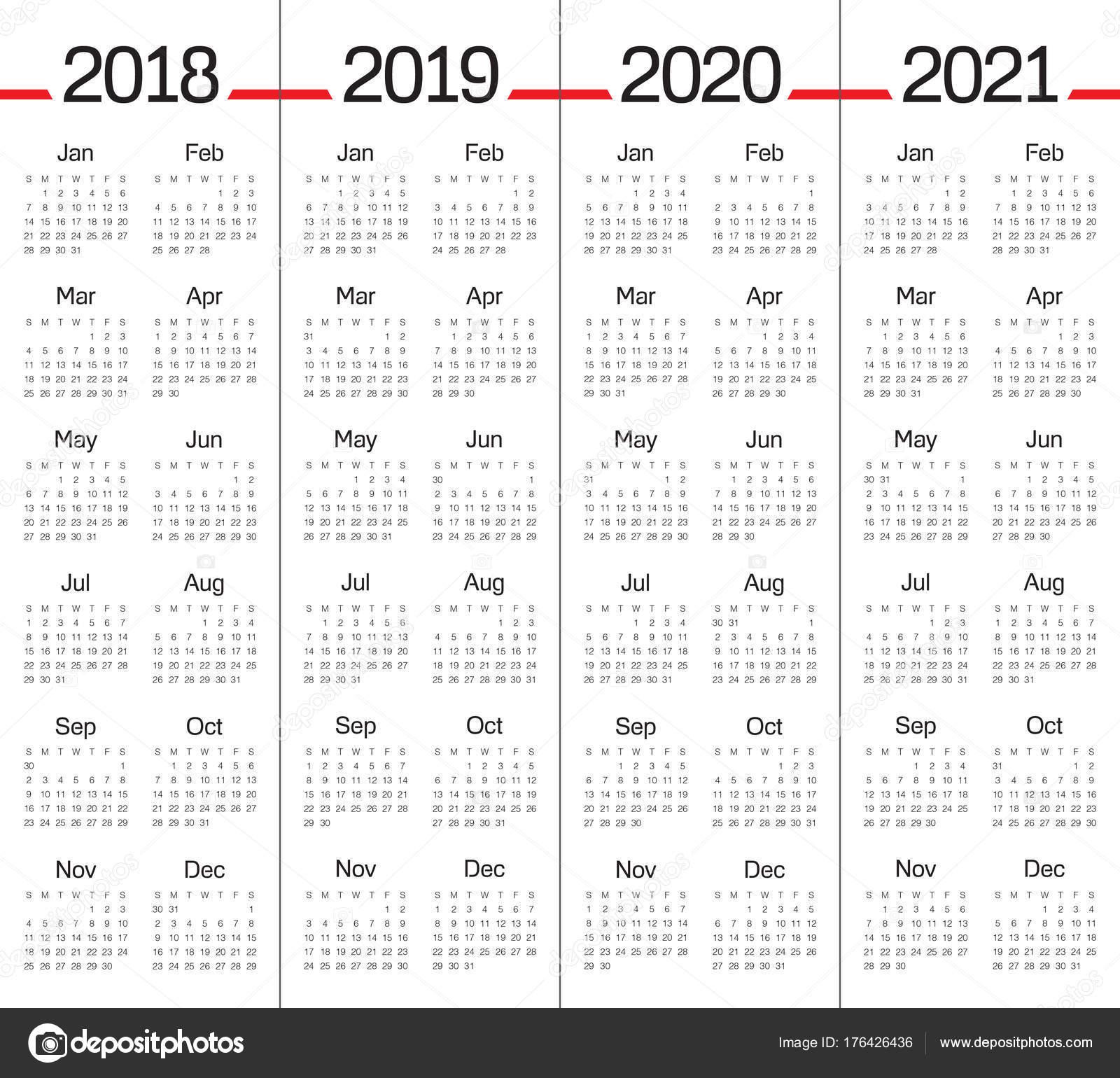 Calendario 2020 Vector Gratis En Espanol.Year 2018 2019 2020 2021 Calendar Vector Stock Vector