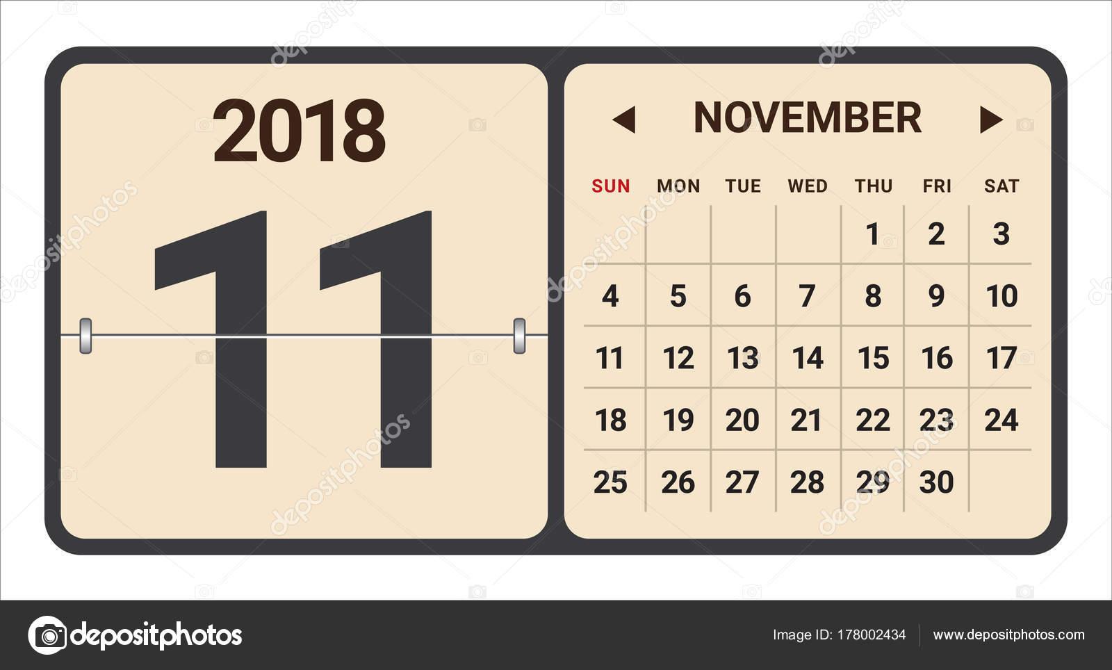 2018 年 11 月カレンダーのベクトル イラスト ストックベクター