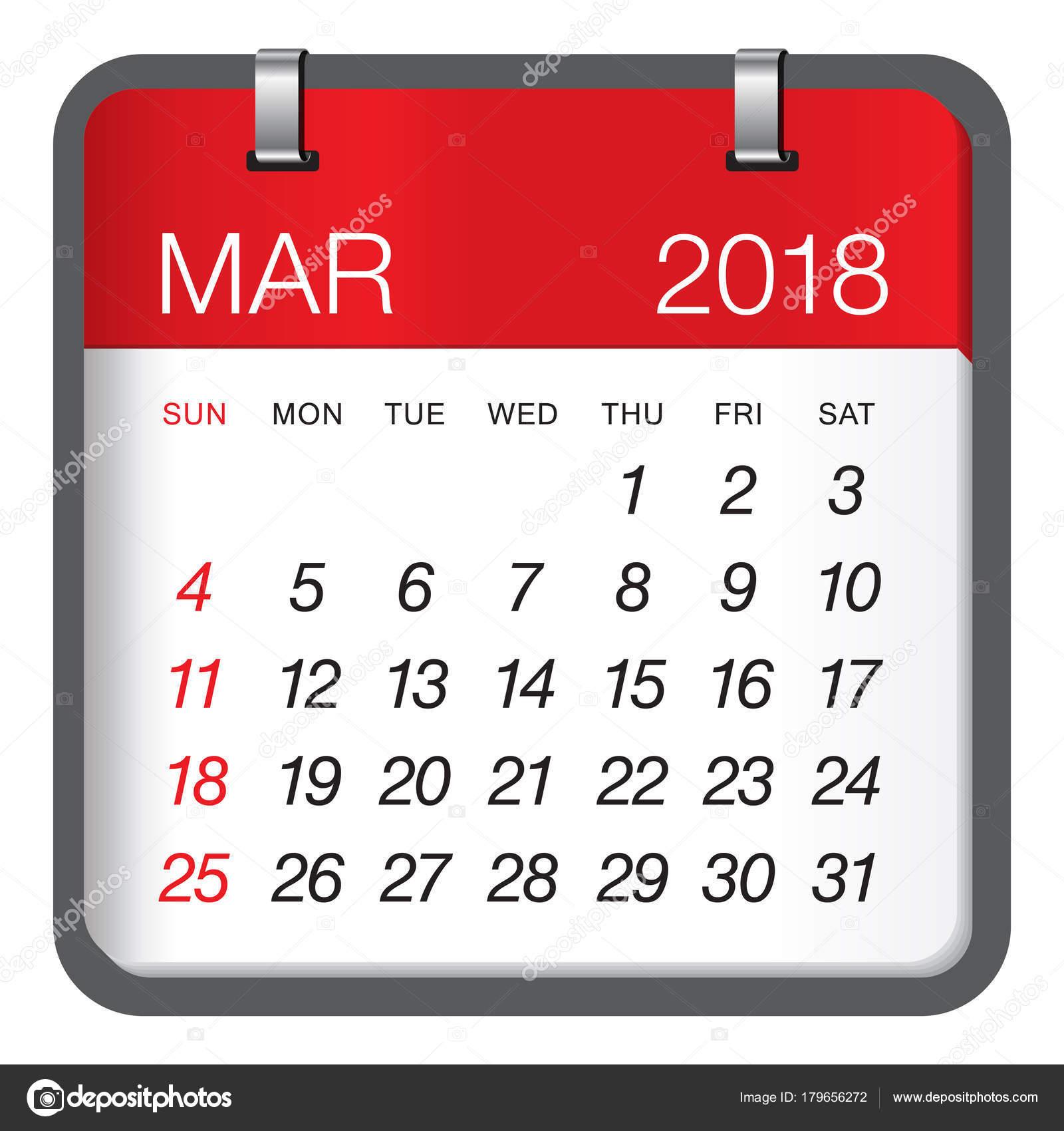 Gadget Calendario.March 2018 Calendar Vector Illustration Stock Vector