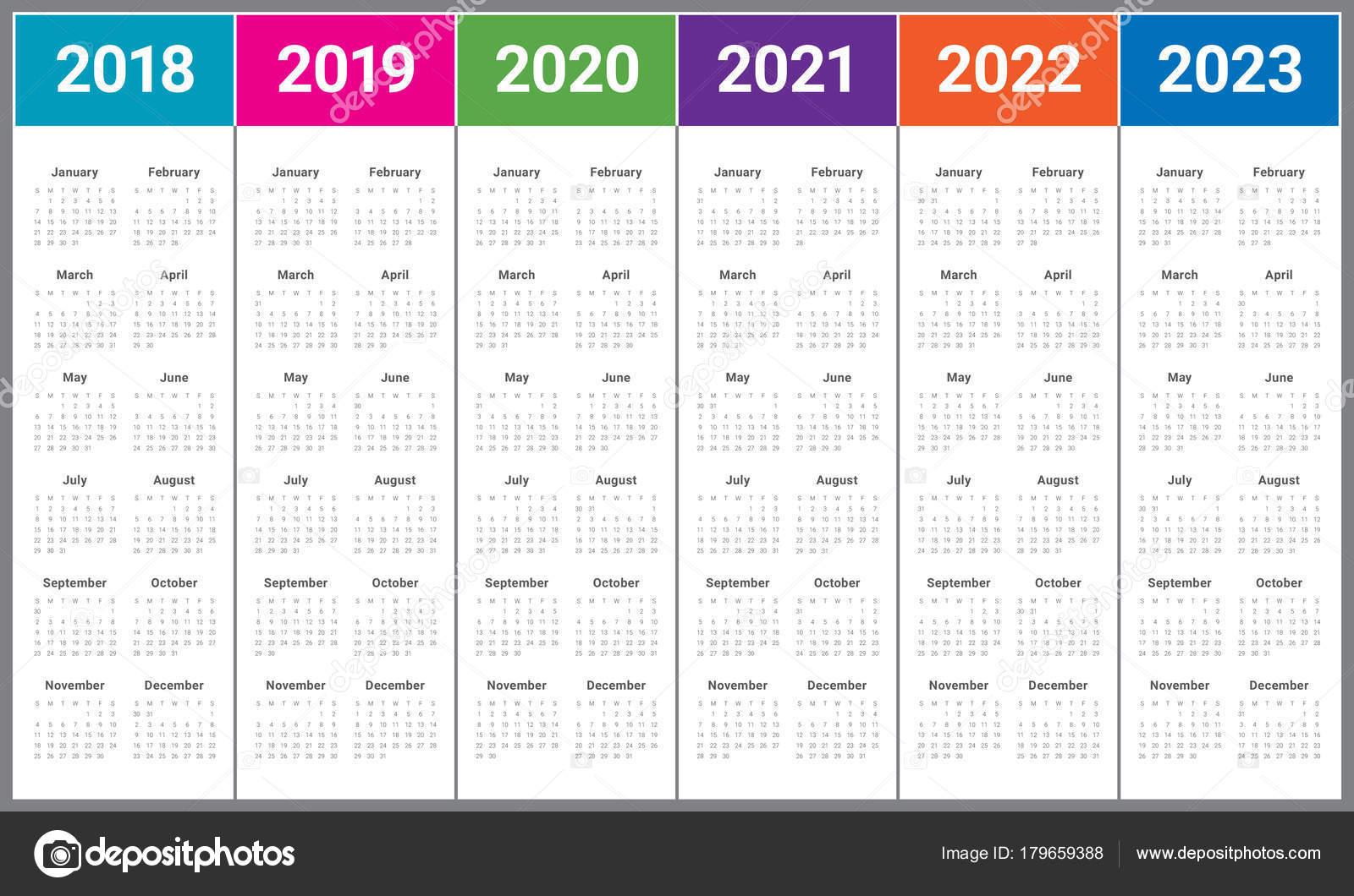 year 2018 2019 2020 2021 2022 2023 calendar vector stock vector dolphfynlow 179659388