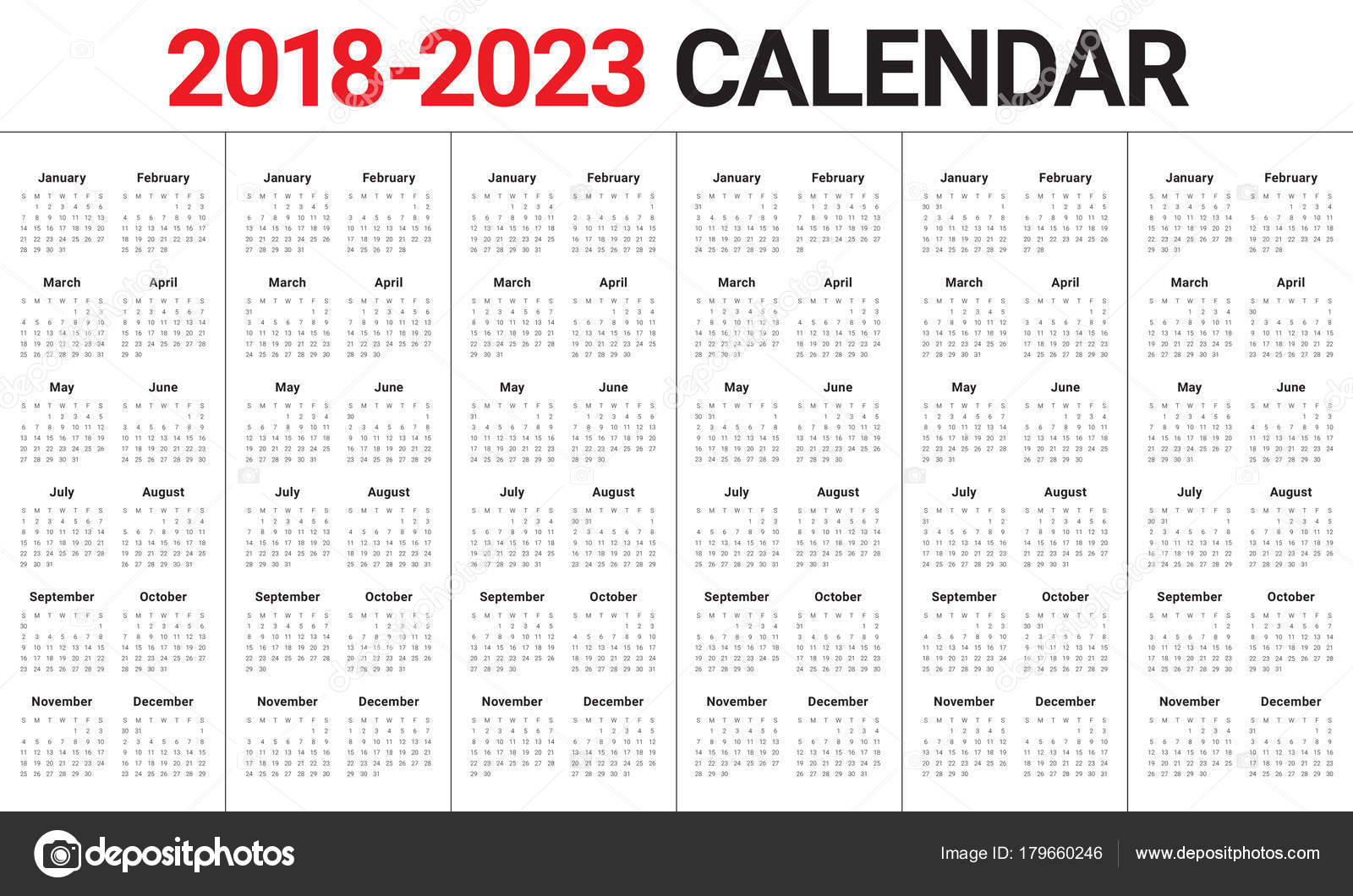 year 2018 2019 2020 2021 2022 2023 calendar vector stock vector