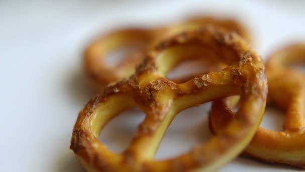 salt pretzels rotating slowly