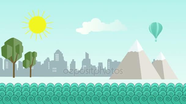 Animation - flache Cartoon-Panoramastadt mit Meer davor