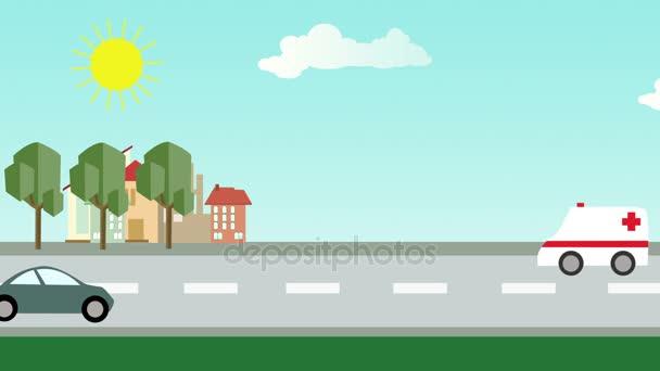 Plochý kreslený města s ulice a auta vpředu