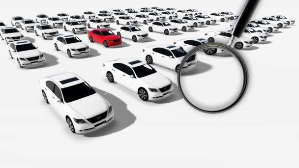 Close up of magnifying glass. Illustration of Hundreds Cars One Red