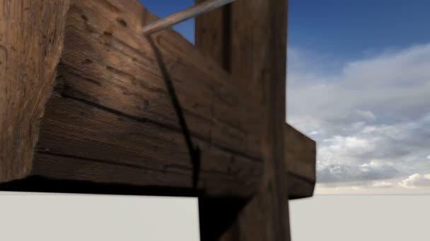Dřevěný kříž na obloze mraky