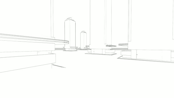 abstract architecture background: blueprint house plan with sketch of city