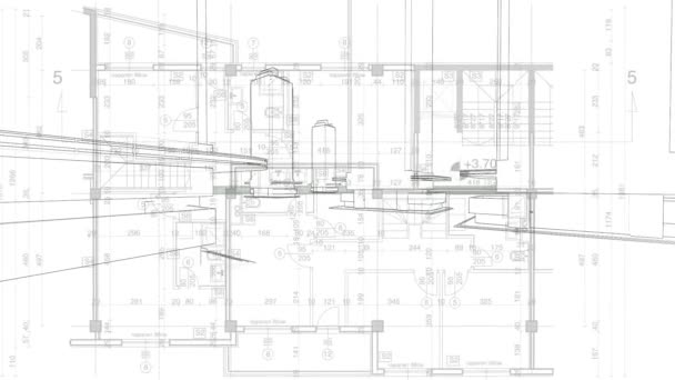 Abstract Architecture Background: Blueprint House Plan With Sketch Of City  U2014 Stock Video