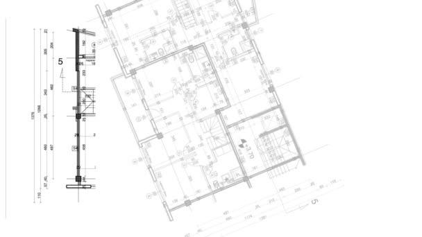 Abstrakt Architektur Hintergrund: Blaupause Hausplan Mit Skizze Der Stadt U2014  Stockvideo