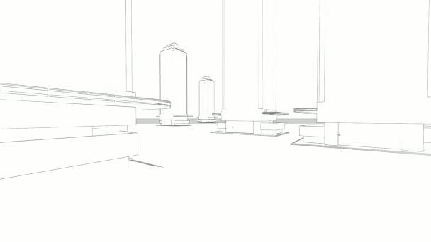 abstraktní pozadí architektura: blueprint dům plán s nástin města