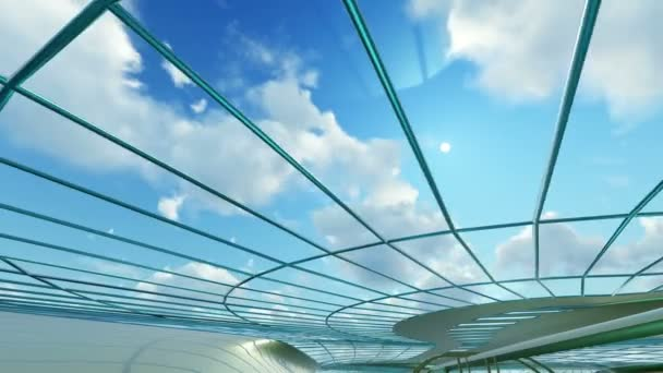 3D animation and rendering of abstract shape with blue glass and steel