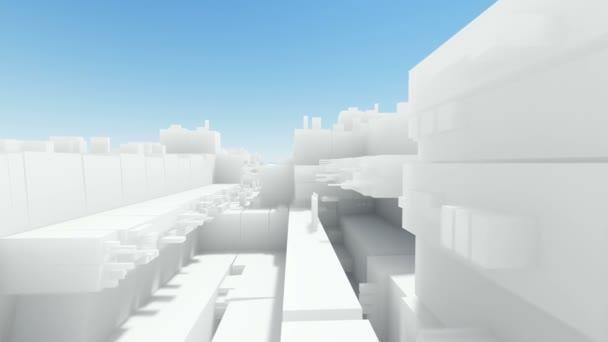 Let přes abstraktní město s bílými budovami