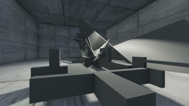 černá a bílá 3d animace a vykreslování abstraktní konkrétní obrazce
