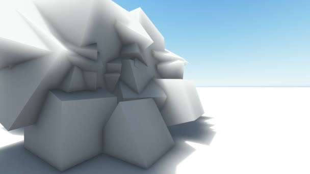 Moving abstract 3d white  chaotic polygonal structure  in empty digital interior