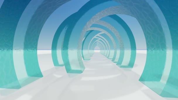 Abstrakte Architektur. Konzept der organischen Architektur. 3D Animation und Rendering