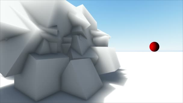 Moving abstract 3d white  chaotic polygonal structure and red ball in empty digital interior