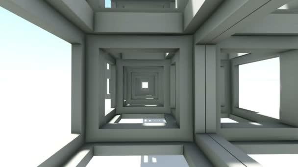 Rychlým útěkem přes moderní modré abstraktní trámové konstrukce. 3D animace vykreslení