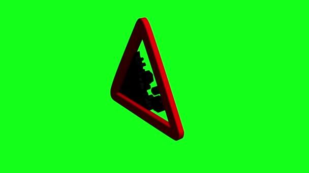 3D-s figyelmeztető jel alá rock a zöld képernyő elforgatása