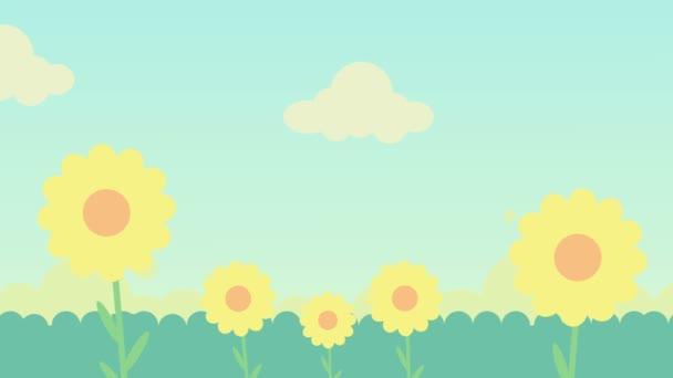 2D animace zelené trávy, květin a modrá obloha s mraky
