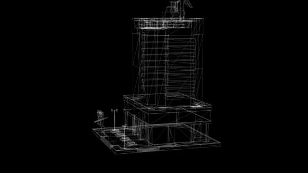 abstract architecture background: blueprint house plan and wire frame model of building