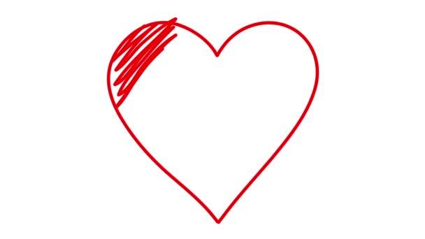 Symbol srdce a šipka se čerpat na bílém pozadí