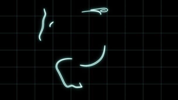 animáció rajz elegáns kék ló egy minimál stílusú fényhatásokkal és rács, fekete háttér