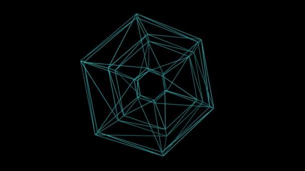 Komplexe Abstrakte Draht Rahmenform Schwimmt Schwarzen Raum ...