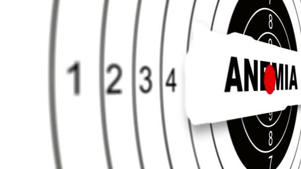Detailní záběr Shooting target s slovo anémie