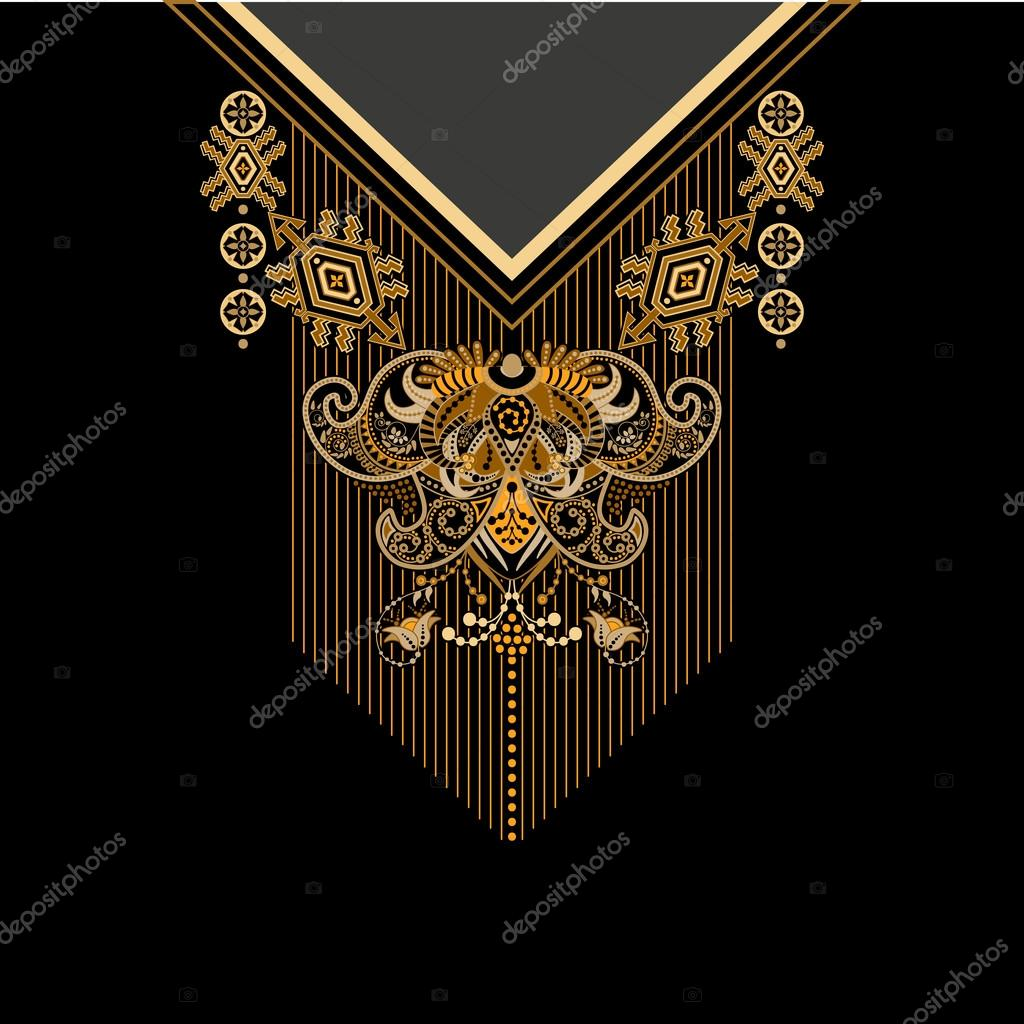 Black and golden colors ethnic flowers neck. Paisley decorative border