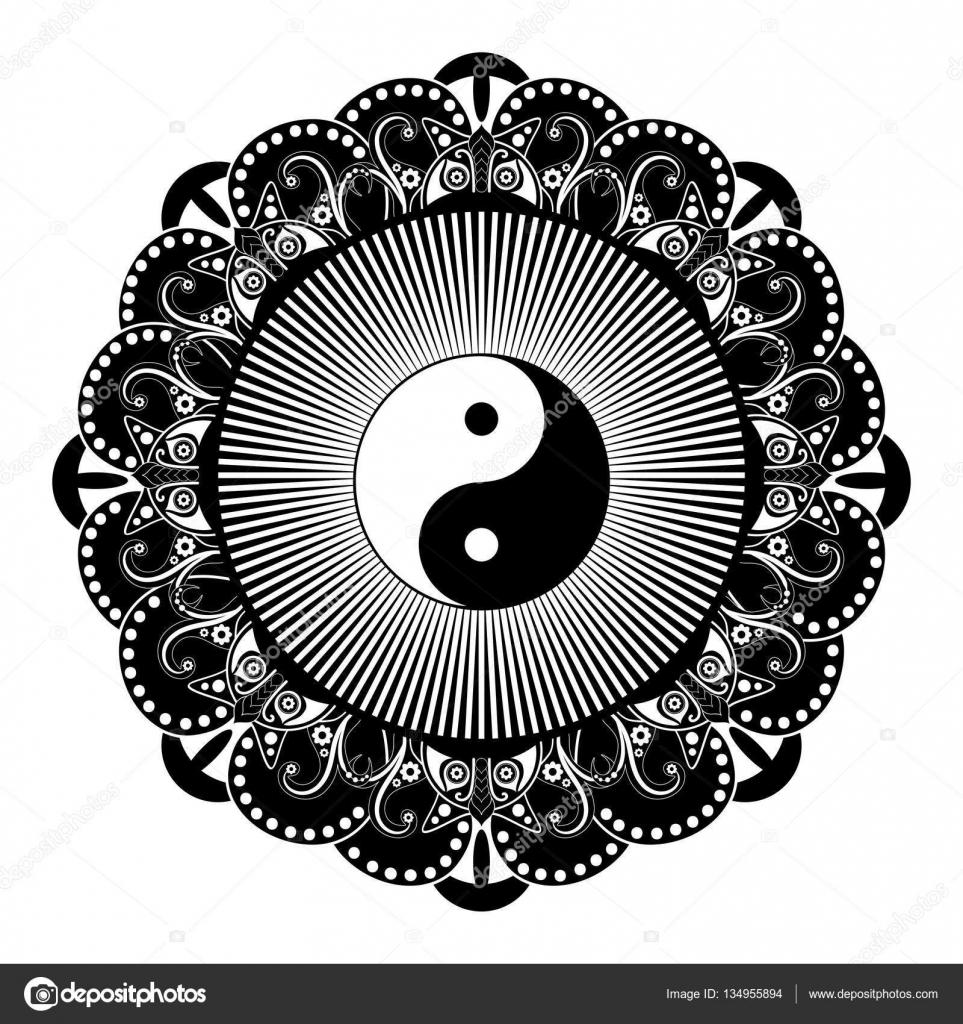 Black And White Vector Henna Tatoo Mandala Yin Yang Decorative