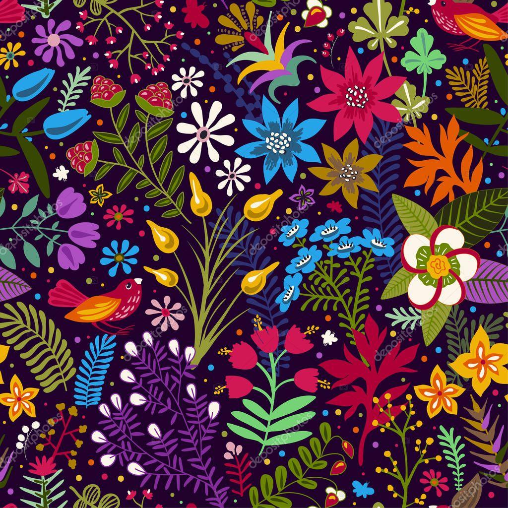 Reticolo senza giunte con i fiori stilizzati e piante for Fiori stilizzati colorati