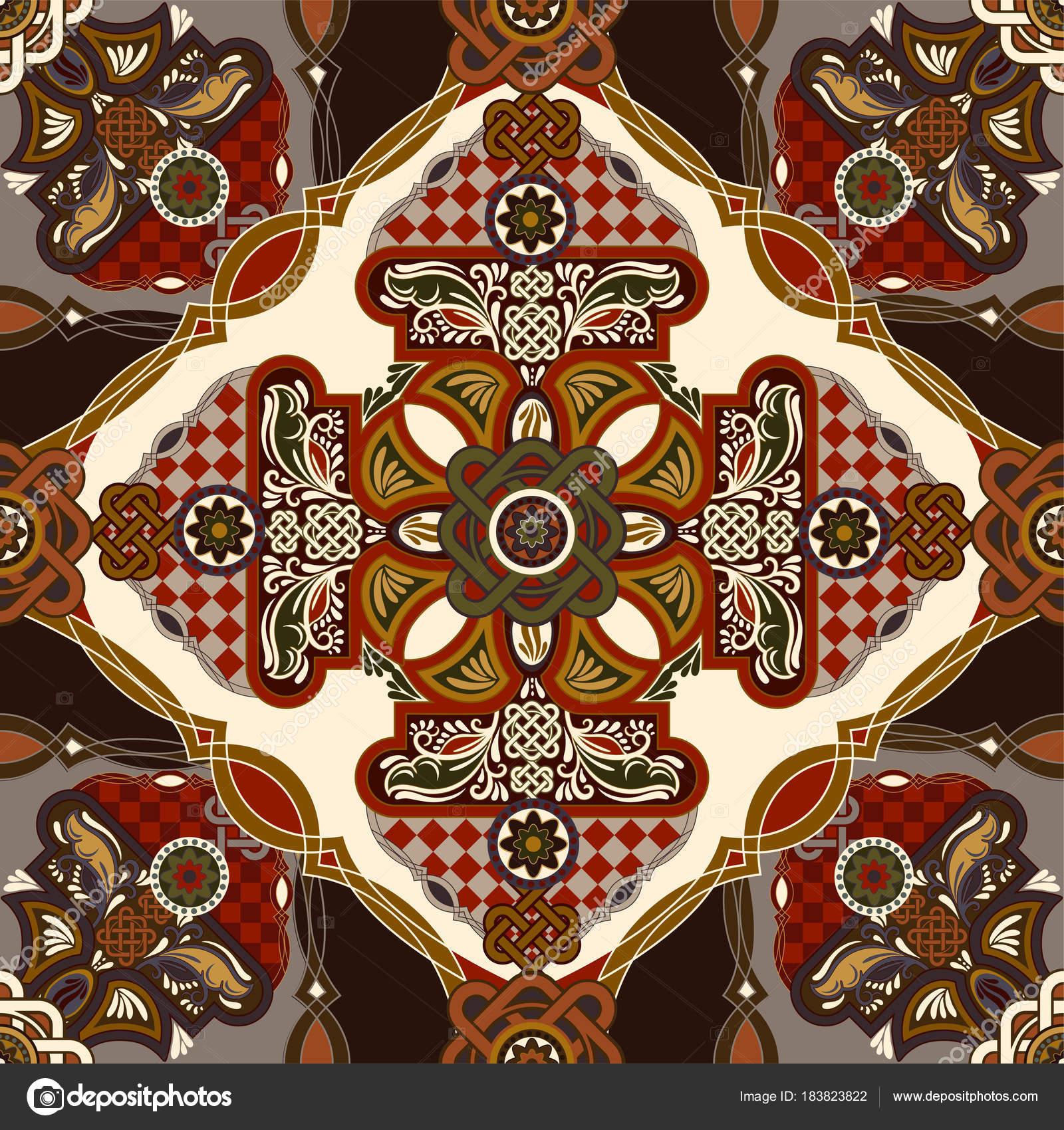 Vektor ornamentalen Fliesenmuster. Bunte Platzgestaltung, Ethno-Stil ...