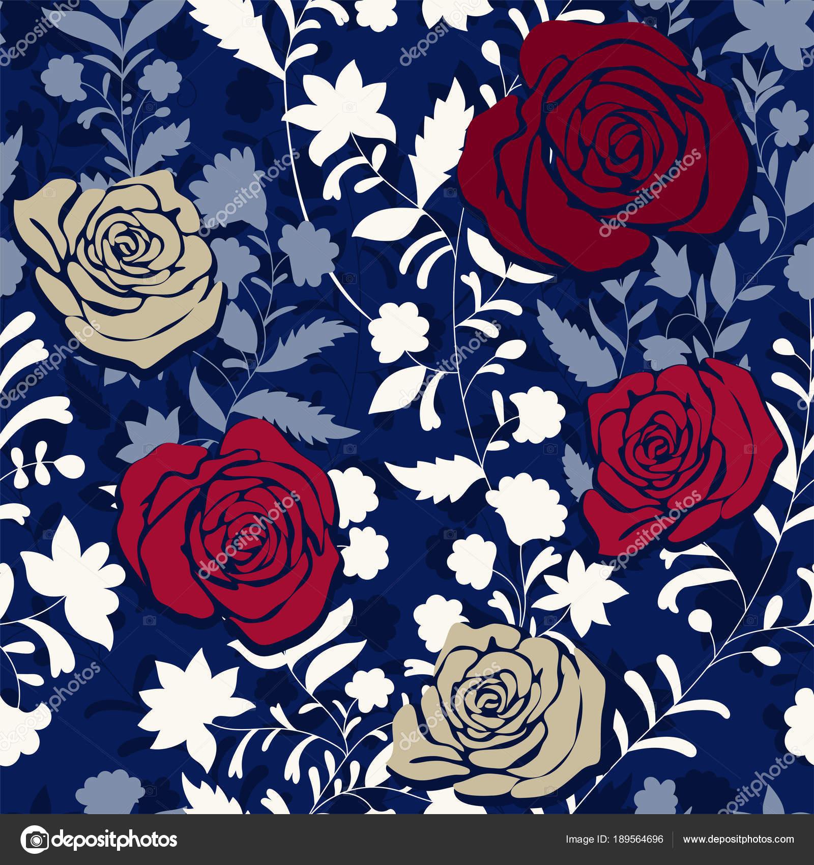Reticolo Colorato Con Le Rose Fiori Decorativi Senza Cuciture