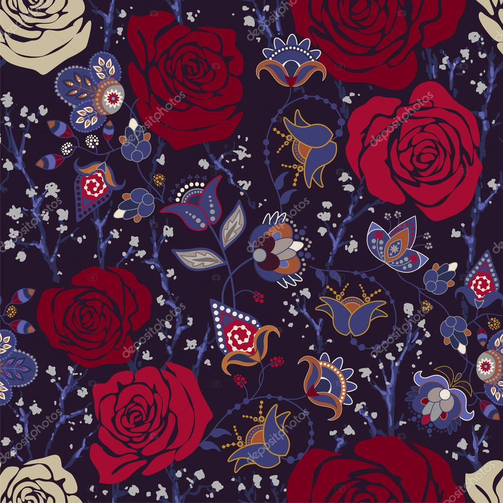 Colorful pattern with roses. Decorative flowers, seamless pattern. Wallpaper for iphone cover, textile, web, cards, invitations, curtains