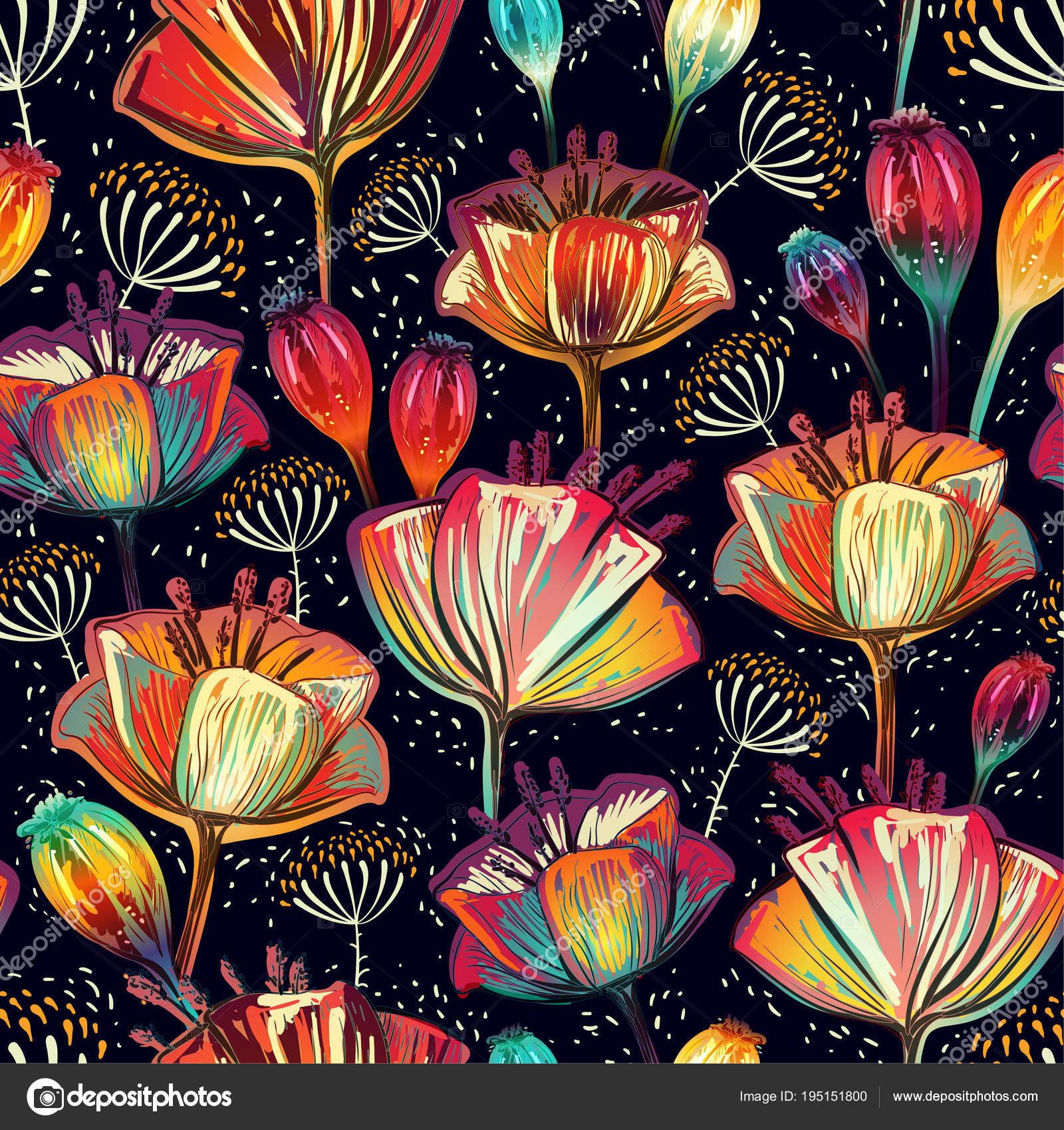 Colorful floral seamless pattern. Plants ornament