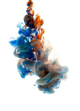 Colors dropped into liquid and photographed while in motion. Cloud of silky ink in water on white isolated background, an abstract banner. stock vector