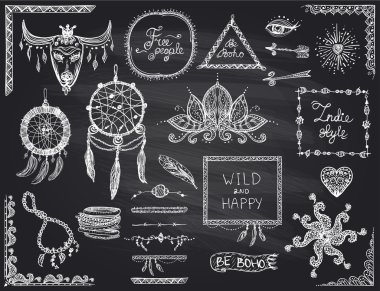 Chalkboard hand drawn sketch elements set in boho style, hippie, indie style, dream catcher, necklace and bracelets, frames