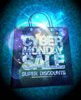 Syber monday sale design with silver crystals shopping bag, glare clearance poster illustration